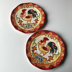 Orange Talavera Hand Painted Rooster Dinner Plates